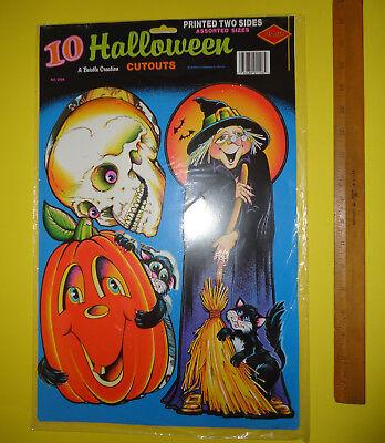 Halloween Cutouts (Original Vintage 1980s BEISTLE Halloween 10 CUTOUTS sealed package UNOPENED)