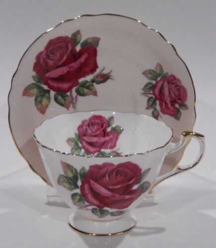 Rare Paragon Johnson FLOATING RED ROSE CUP & SAUCER Pink Colorway c1957-1960