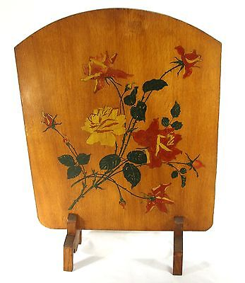 VINTAGE HAND PAINTED FLORAL ROSES STILL LIFE ARTS CRAFTS WOOD FIRE PLACE SCREEN