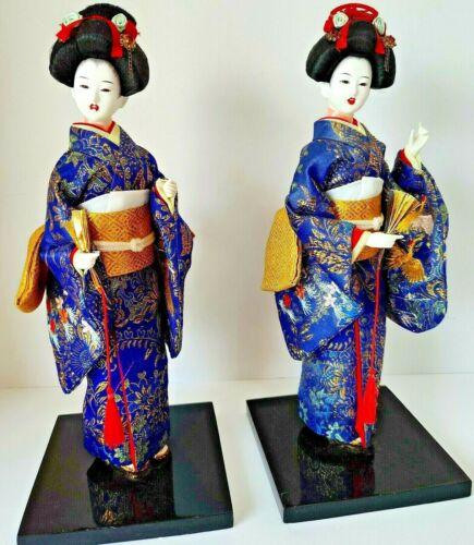 "Vintage 2 Japanese Geisha Dolls Ceremonial Kimono Carrying Bags & Fans 12 1/2"""