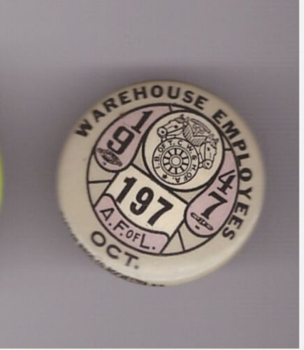 """teamsters 197 1947  1"""" pin (197is ?where?)"""
