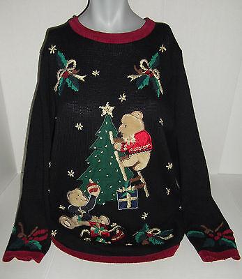 Ugly Christmas Decorations (Tacky Ugly Christmas Sweater Vtg Nutcracker Teddy Bears Decorating Black Size)
