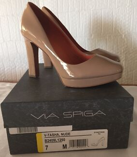 NEW Via Spiga Tasha Nude Patent Leather Shoes Westlake Brisbane South West Preview