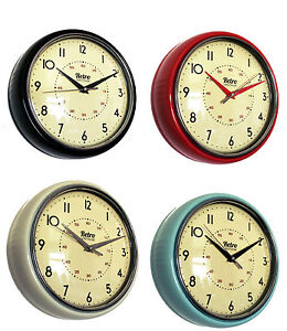 Retro 50 39 s vintage fifties kitsch kitchen wall clock black for Cuisine retro 50 s