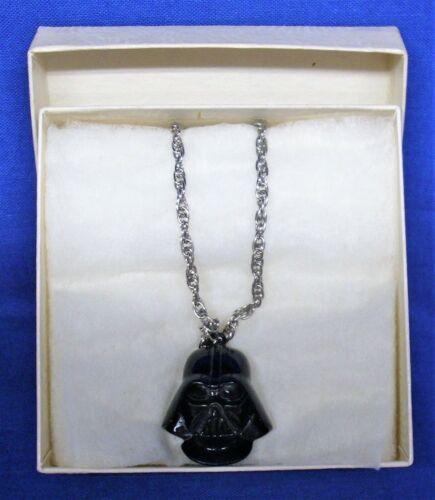 Vintage Star Wars Darth Vader Pendant Necklace 1977 20th Century Fox Black Metal
