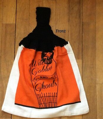 Witches Goblins and Ghouls Whole Kitchen Towel - Halloween Fall Orange Black
