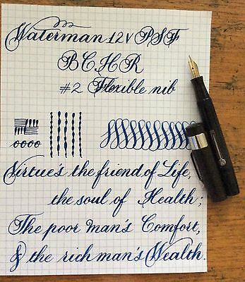 VINTAGE WATERMAN 12V PSF BCHR FOUNTAIN PEN FLEXIBLE NIB VIDEO AVAILABLE