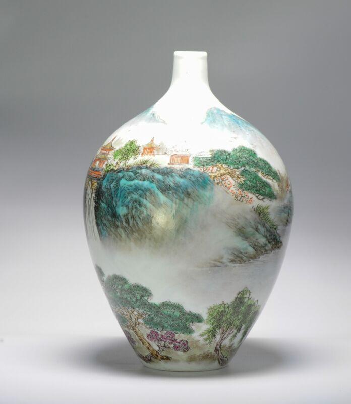 Vintage 20C Chinese porcelain Landscape Vase China Marked on Base