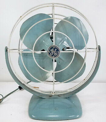 Antique Vintage Turquoise GE General Electric Table Fan