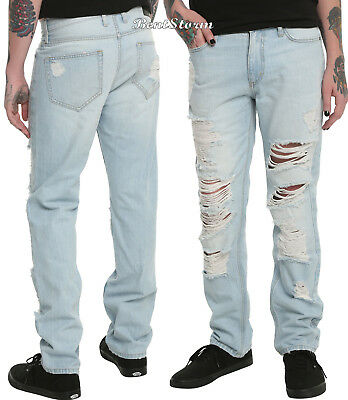XXX RUDE Destructed Slim Fit Straight Leg Jeans Pants Mens 38