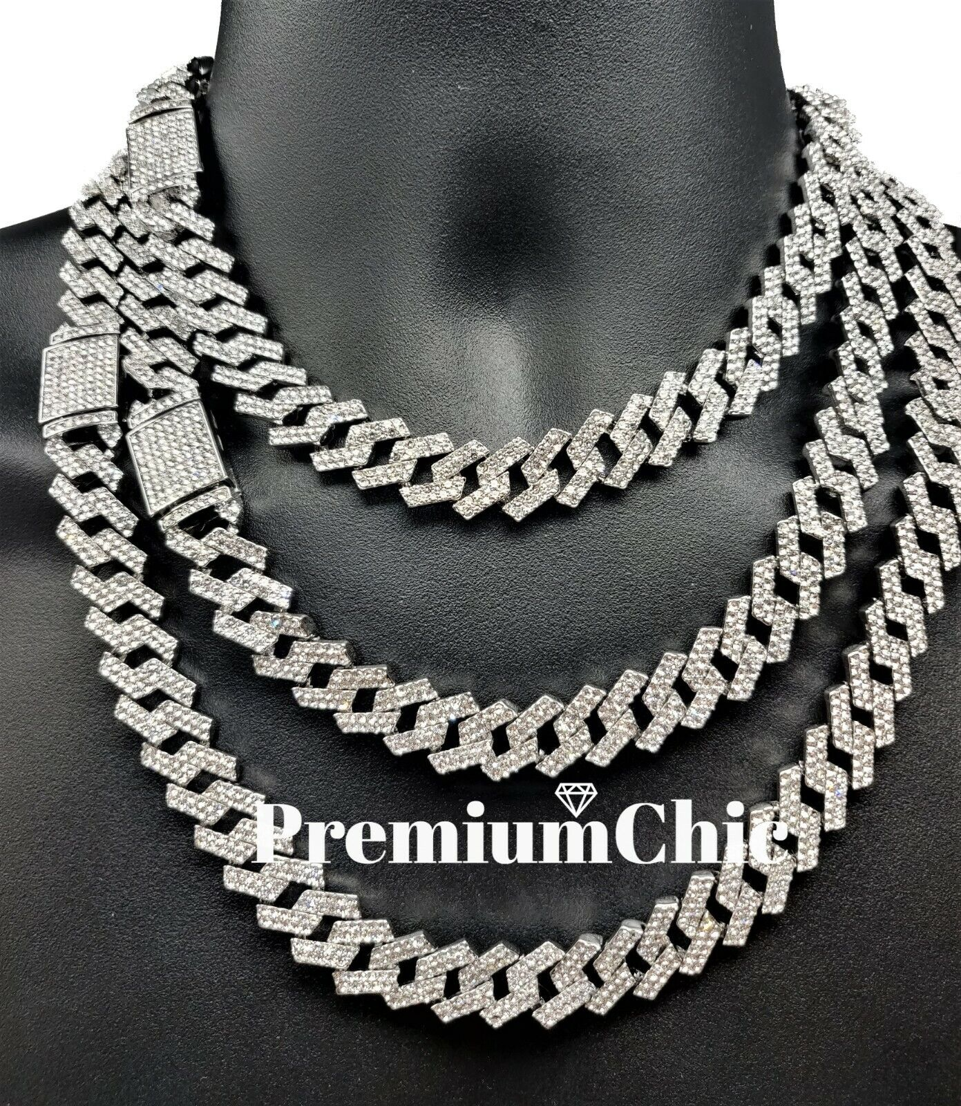 Jewellery - ICED Miami Cuban Link Chain Necklace or Bracelet (Diamond Prong) Hip Hop Jewelry
