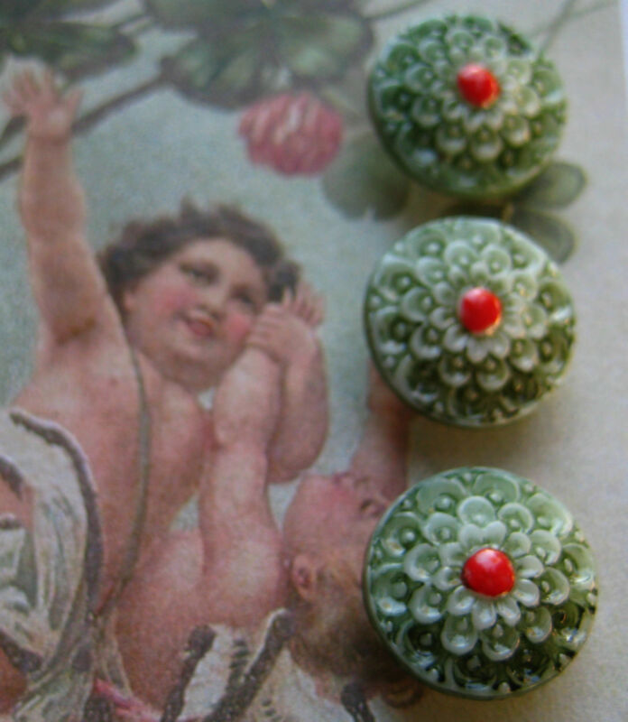 """Set of 4 Vintage 1/2"""" Christmas Green Lace Painted Glass Buttons ~1920/s~old stk"""