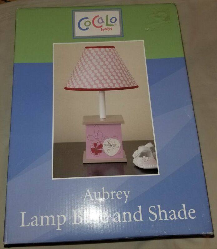 """NEW CoCaLo Baby """"Aubrey"""" Nursery Lamp Base And Shade--Pink/Flowers/Floral"""