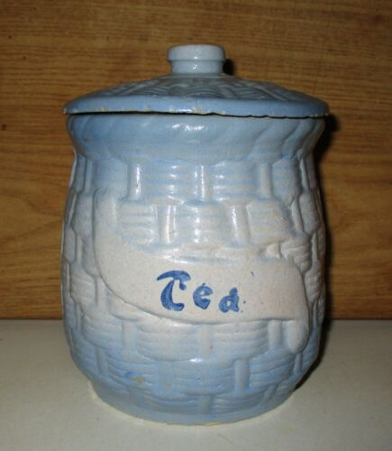 ANTIQUE MCCOY BLUE WHITE BASKET WEAVE MORNING GLORY TEA CANISTER & LID