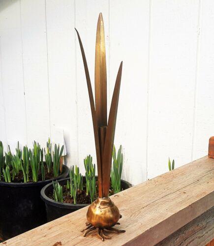 NARCISSUS vtg japanese bronze ikebana bud vase spring bulb daffodil table art