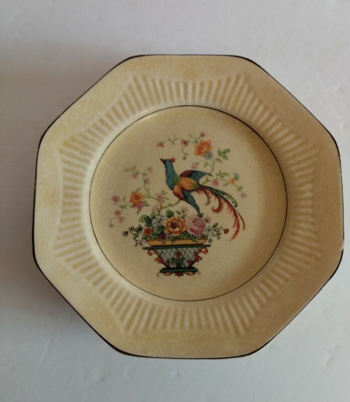 4 Bread Plates Antique Ivory From Salem Flower Basket with Bird 6""