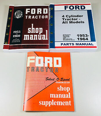 1962-65 Ford 2000 4000 Series Tractor Service Repair Shop Parts Manuals Catalog