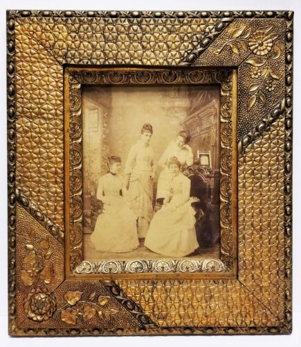 Antique Victorian Extremely Ornate Wood & Gesso Floral Picture Frame 1870
