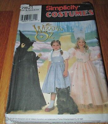 Wizard of Oz Costume Pattern Girls 3 4 5 6 7 8 Dorothy Witches Simplicity 7801 - Dorothy Wizard Of Oz Costume Pattern