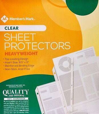 Member Mark Clear Sheet Protectors Heavyweight 8.5 X 11