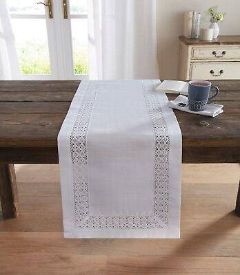 Tischläufer 40 x 140 cm Tischdecke Tischtuch Tischdeko Landhaus weiß Häkelspitze