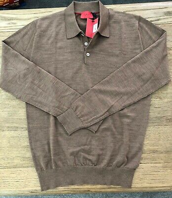 ISAIA $895 Ultrafine Merino Wool Long Sleeve Polo Sweater Cognac Brown sz L NWT