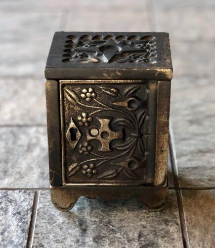 Vintage Cast Iron Key Lock Safe Bank No. 50 J & E Stevens Co. August 1897