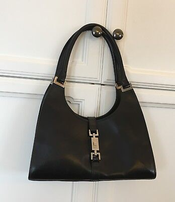 AUTHENTIC Vintage Gucci Jackie O Black Leather Medium Bardot Hobo Bag