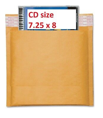 200 Cd 7.25x8 Kraft Bubble Mailers Self Seal Padded Envelopes 7.25 X 8