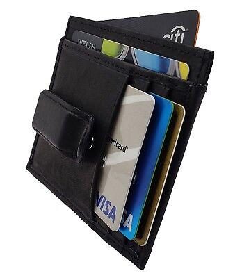 Black Card Holder - AG Wallets Mens Leather Slim Money Clip Front Pocket Wallet Credit Card Holder