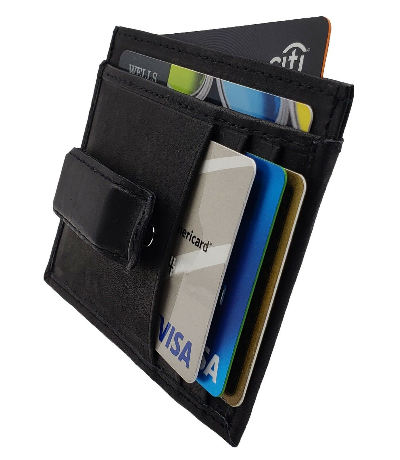 leather slim money clip front