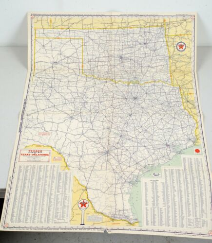 Vintage Error or Misprint Texaco Road Highway Touring Map Texas Oklahoma