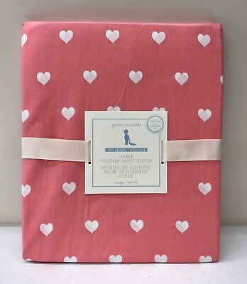 NEW Pottery Barn KIDS Organic Heart Toddler Duvet Cover, CORAL