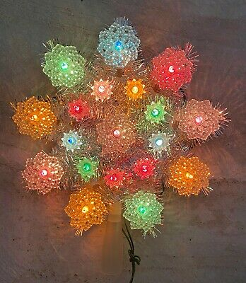 Vintage Christmas Tree Topper Snowflake Star Silver Tinsel 19 Lights, Excellent