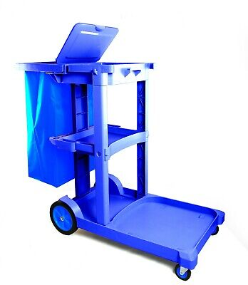 Janitorial Cart With Bag Cover Blue