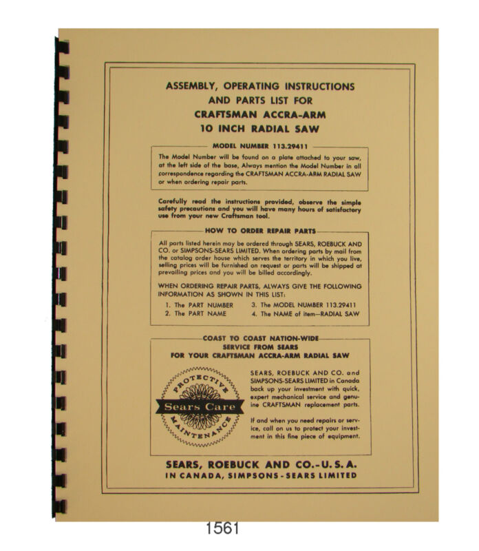 Sears Craftsman 113.29411 Accra-Arm 10 inch Radial Saw Op & Parts Manual #1561