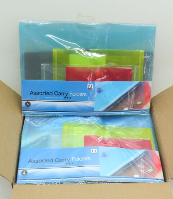 NEW 24 x 4 Pcs Carry Folders Document Stud Wallet Assorted Sizes And Colours
