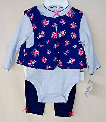 (LITTLE ME 100% Cotton 3 pc Navy Floral Vest Set w/Leggings Girl SIZE 9 MO NWT)