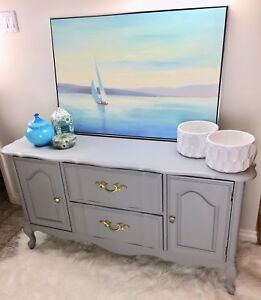 Beautiful Grey Refinished French Style Buffet Sideboard