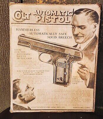 VINTAGE COLT PISTOL GUN ADVERTISING HUNTING AMMO PRINT CANVAS SIGN MAN CAVE