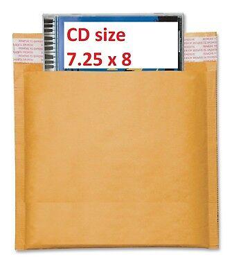 250 Cd 7.25x8 Kraft Bubble Lite Mailers Cd Rom Envelopes Bags