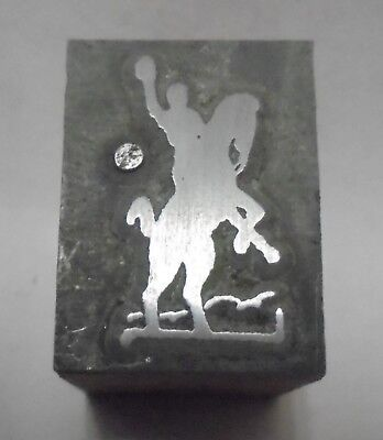Vintage Letterpress Printing Block Cut Cowboy With Hand Up Riding Horse