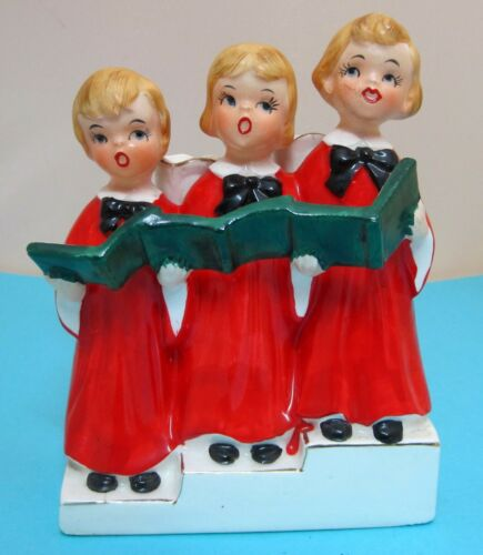 "Vintage Vcagco Christmas 3 Blond Choir Girl Red Gowns Candle Holder 5 3/4"" T43"