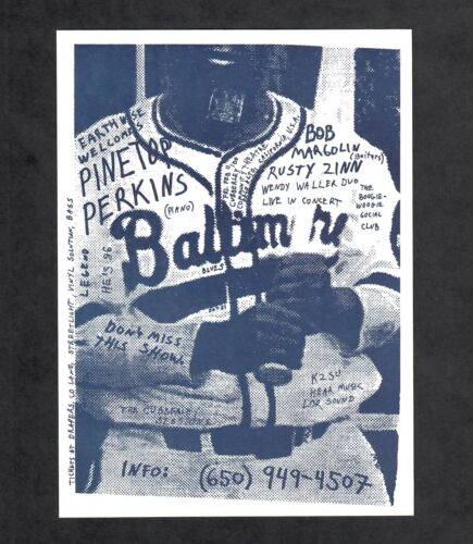 Pinetop Perkins and Friends 2000 Concert Handbill Card Palo Alto California