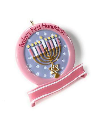 New Pink Baby Girl 1st Hanukkah Menorah Resin Ornament - Hanukkah Ornaments