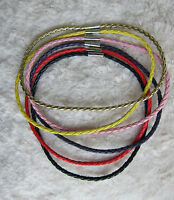 Men's \ Ladies Braided Man-made Leather Cord Necklace - Multicolored, 4 & 8 Mm. -  - ebay.co.uk