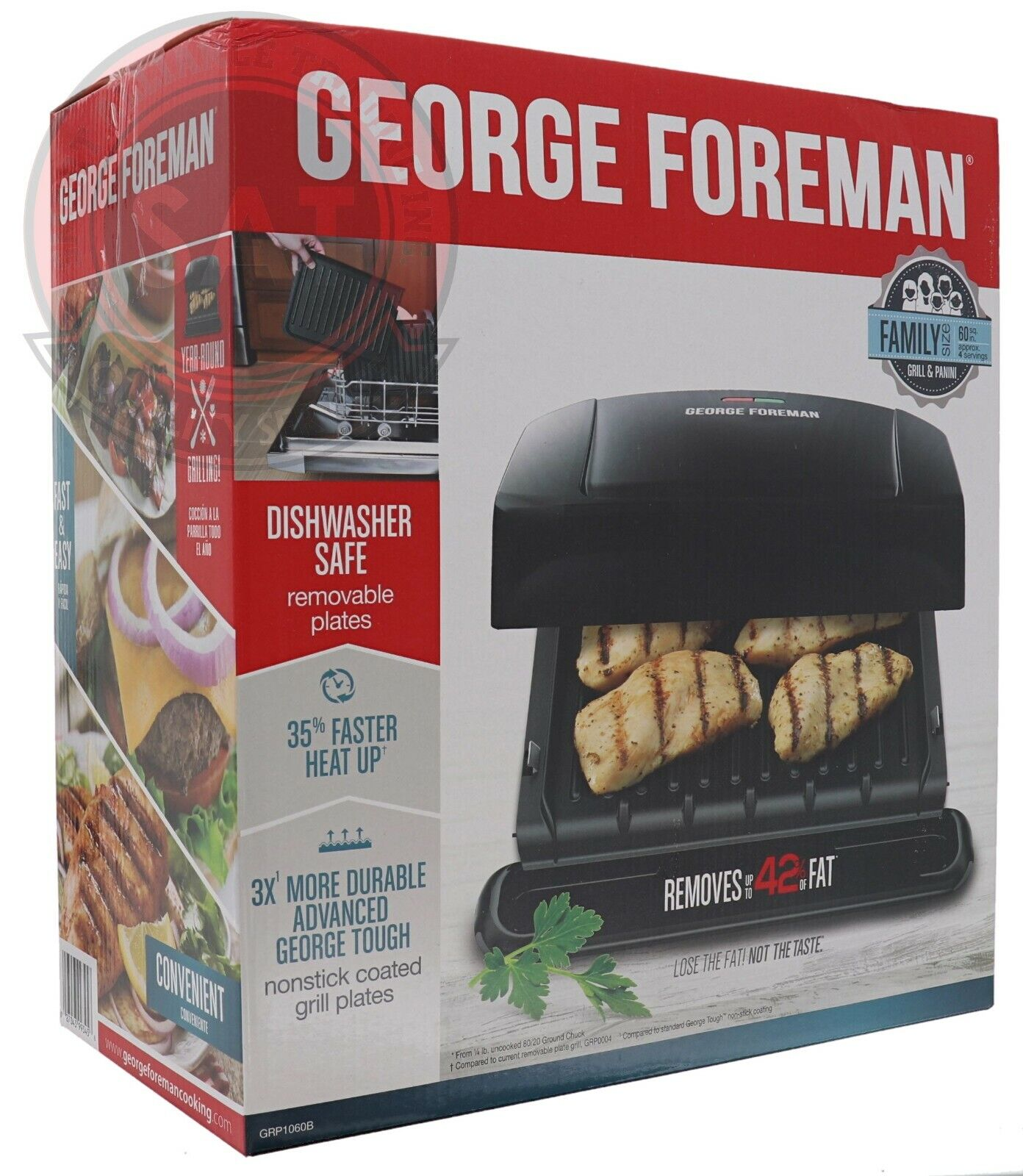 George Foreman 4 Serving Removable Plate Electric Indoor Gri