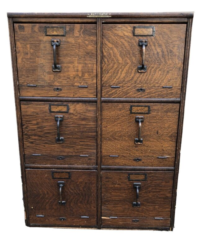 Oak Antique 6 Drawer File Cabinet, Signed Automatic of Green Bay WI