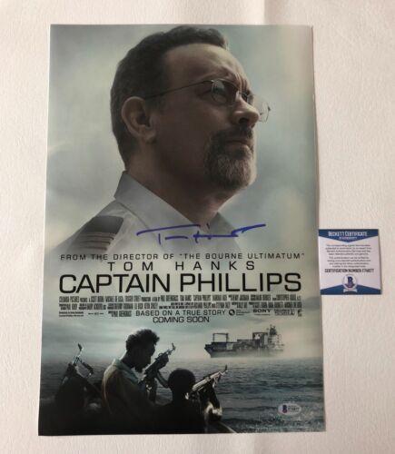 'CAPTAIN PHILLIPS' TOM HANKS SIGNED 12X18 PHOTO AUTHENTIC AUTOGRAPH BECKETT BAS