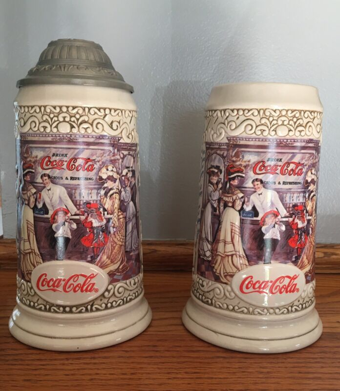 Lot 2 1994 COCA-COLA COLLECTOR STEIN WITH LID THE SODA FOUNTAIN COKE MIB/COA